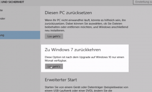 Windows 10 Upgrade rückgängig machen auf Windows 7